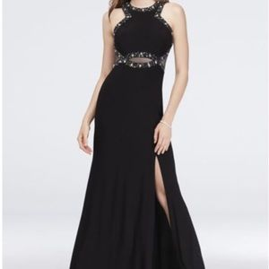 Morgan & Co embellished halter neck black gown
